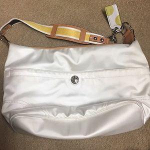 COACH white & yellow with leathe hobo handbag